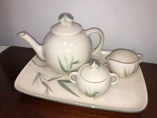 VINTAGE WINFIELD USA BAMBOO PATTERN TEAPOT & LID 5 CUP With Cream Sugar Tray