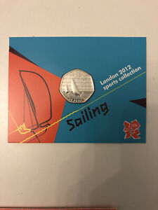 Sailing Olympic 50p - BNUC, Coin In Card Presentation