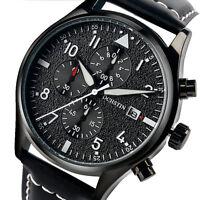 OCHSTIN Chronograph Luminous Genuine Leather Strap Men Army Quartz Wrist Watch