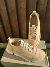 Clarks Mens Tri Spark Nude NUBUCK Trainers Size 7.5 G
