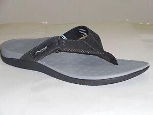 The Original Orthaheel Men's Black Grey Ryder Thong Adjustable Slip On Sandals