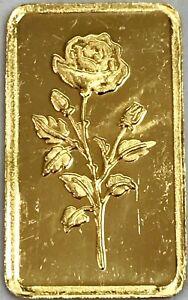 GOLD 2.5 GRAMS ROSA ROSE FLOWER .9999 FINE ART BAR *SCRUFFY