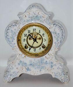 Antique Blue and White Porcelain Mantle Clock w/ Open Escapement Movement