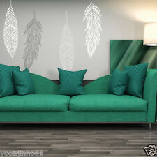 Decorative Feathers Large Stencil Chahta, Reusable ethnic stencils for home DIY