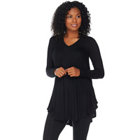 AnyBody Loungewear Brushed Hacci V-Neck Swing Top Color Black Size S