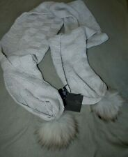 TOM & EVA SCARF GREY W/ RACCOON FUR ACCENT ENDS NEW NWT RETAIL $95.00