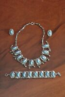 Vintage French DLH DÉPOSÉ costume jewellery set: necklace, bracelet, clip on ear