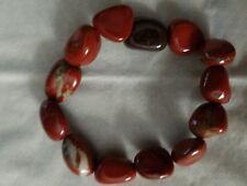 Tumbled Stones Bracelet Red Jasper Beaded Stretch Bracelet 10-12 mm Stones