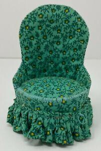 Vintage Artisan Green Floral Chair Dollhouse Miniature 1:12