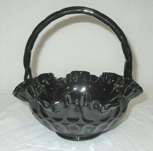 "Vtg Fenton Basket Black Glass Thumb Print 8"" Diameter x 7.5"" Tall to Handle Top"