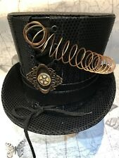Steampunk Black Textured  Top Hat Size 58 With Pin And Spiral  By SDL
