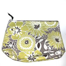 Thirty One Floral Yellow Grey Brown Flower Clutch Makeup Bag Zip Too Pouch Rare