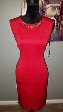 Calvin Klein Women's Sleeveless Scuba Sheath Dress Chain Detail! NWT Size 6 Red!