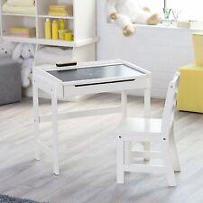 Kids Desk and Chair Set Chalkboard School Playroom Storage White New