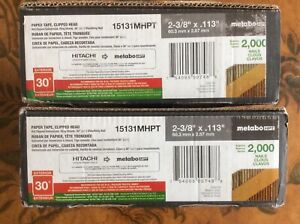 "Lot of 2 Boxes, Hitachi/Metabo 2-3/8"" 30-degree Nails 15131MHPT, 4000-count"