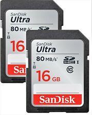 SD 16GB  2 PC  SanDisk Ultra 80MB/s Class 10  SDHC HC 533X UHS-I HD Memory Card