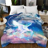 3D Dreamcatcher Unicorn Soft Quilt Comforter Bedding Sofa Travel Blanket X'mas