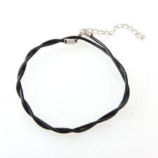 Adjustable Black Leather Anklet Chain Ankle Bracelet HOT ED