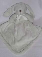 Blankets & Beyond Green White Bunny Blanket Brown Stitches Plush Stuffed Animal