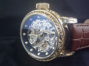 Invicta Vintage Excalibur Mechanical 52mm Gold Skeletonized Exhibition Watch