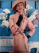 ELLE N° 0332 JEUX DE CHAPEAUX VETEMENTS DE MARIAGE LE PIQUE-CACHEMIRE 1952