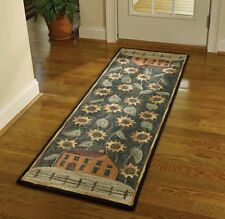 "AREA RUG - COUNTRY HOUSE & SUNFLOWERS HAND HOOKED RUG - 24"" X 72"" RUNNER"