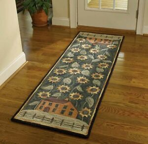 """AREA RUG - COUNTRY HOUSE & SUNFLOWERS HAND HOOKED RUG - 24"""" X 72"""" RUNNER"""
