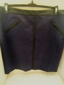 Worthington Womens Size 16P Skirt Pencil  Peacoat Blue Fake Leather $34 NEW NWT