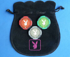 3 PLAYBOY CASINO POKER CHIP GOLF BALL MARKERS In Pouch