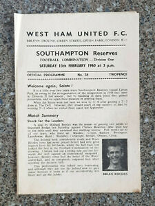 1960 - WEST HAM UTD v SOUTHAMPTON PROGRAMME - COMBINATION LEAGUE - 59/60