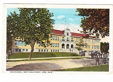 HIGH SCHOOL----WEST HIGH STREET----------LIMA OHIO --------1925 POSTCARD