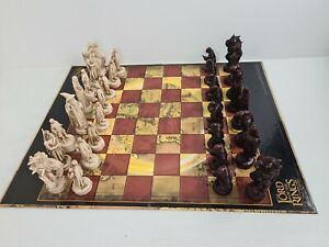Lord Of The Rings The Two Towers Chess Set Antique Ivory &Chinese Lacquer Finish