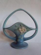 """Vintage Original Roseville White Rose Basket 363-10"""". 1940 10 3/4"""". Beautiful!"""