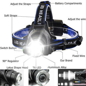 Rechargeable T6LED Flashlight Work light Zoom Headlamp Head Torch 90000LM Adjust