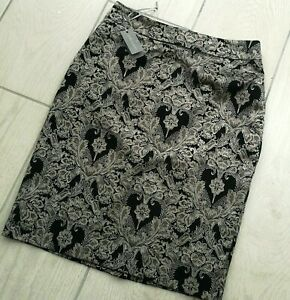 Laura Ashley Straight Skirt Champagne Black 12 Knee Length MS-606A32FY BNWT £65