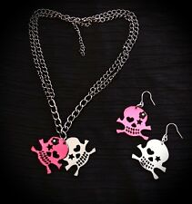 Funky Punky Pink Mirror Skull Pendant With Matching Skull Earrings