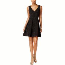 Betsey Johnson Mujer Metálico Vestido Mini de Fiesta, Negro/Plata, 8