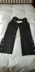 Interstate Leather Motorcycle Chaps Sz. XS  Black Never Worn