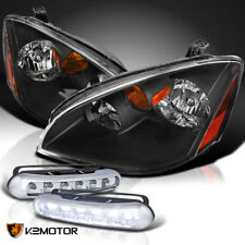 For 02-04 Nissan Altima JDM Black Headlights Head Lamps+LED Fog Lamps