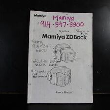 Mamiya ZD Digital Back User Manual Owner Guide B00119