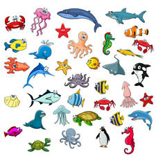 Sealife Fishes Bathroom Wall Stickers Kids Decals Cartoon Octopus  Games 34pcs