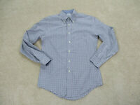 Brooks Brothers Button Up Shirt Adult Small Gray White Plaid Long Sleeve Mens