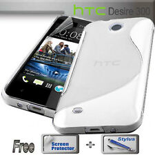 S Curve Clear Gel Jelly Cover Case for HTC Desire 300 + FREE SP & Stylus