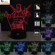 Anti-hero Deadpool 3D Acrylic LED Night light 7 Color Touch Table Desk Lamp Gift