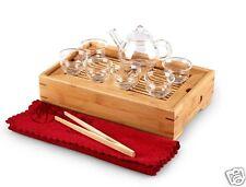 10 Piece Glass Tea Set Bamboo Tea Tray + Teapot + 6 Cups + Tea Towel+Tea Tweezer