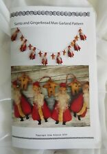 Primitive Folk Art Santa Claus Doll  Garland Gingerbread Man Country Pattern