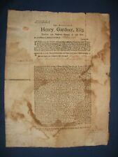 Revolutionary War Broadside, Collection of War Taxes, Henry Gardner