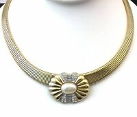VINTAGE NECKLACE FAUX PEARL CLEAR RHINESTONE GOLD TONE METAL COSTUME JEWELRY