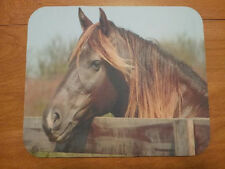 Horse Mouse Pad - Brown Pony Behind Fence