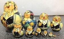 Russian 3� 10 piece Nesting Doll Jewish Rabbi Family Hanukkah Gift